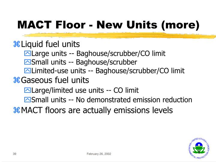 MACT Floor - New Units (more)