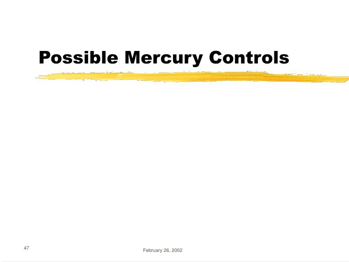 Possible Mercury Controls