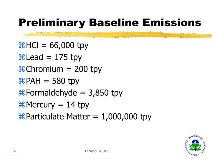 Preliminary Baseline Emissions