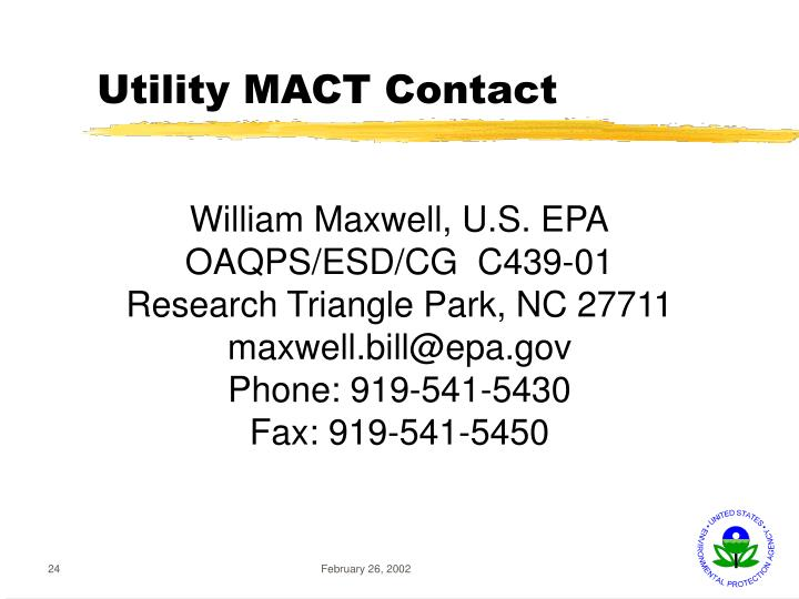 Utility MACT Contact