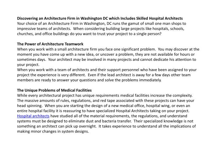 Discovering an Architecture Firm in Washington DC which Includes Skilled Hospital Architects