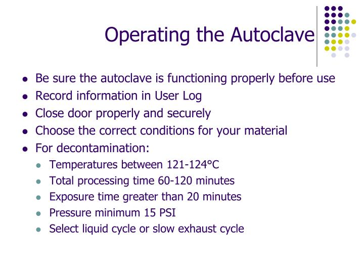 Operating the Autoclave