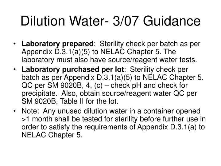 Dilution Water- 3/07 Guidance
