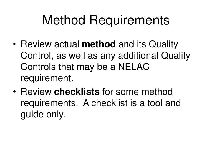 Method Requirements