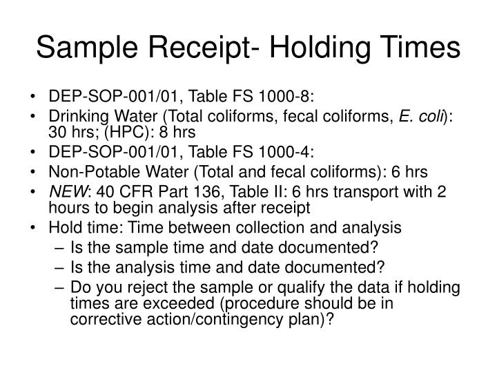 Sample Receipt- Holding Times