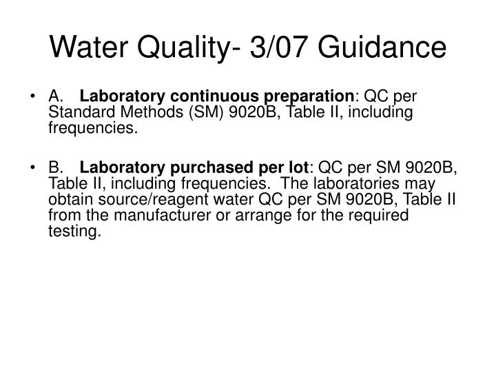 Water Quality- 3/07 Guidance