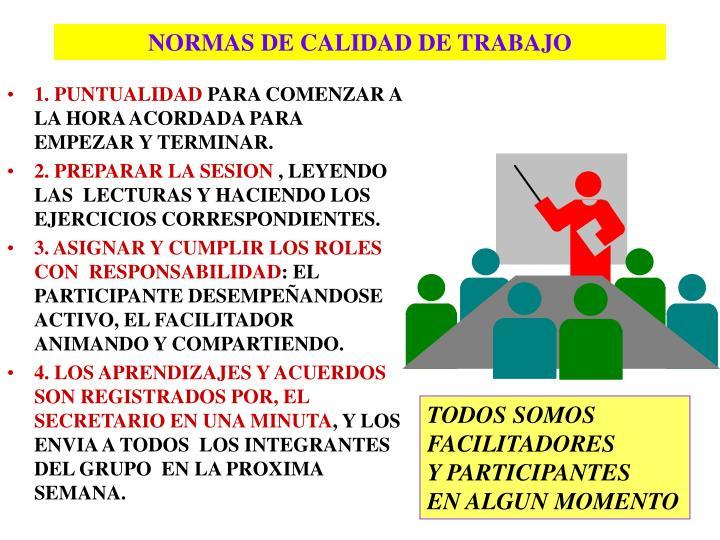 NORMAS DE CALIDAD DE TRABAJO