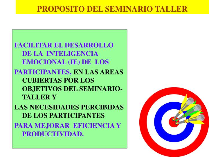PROPOSITO DEL SEMINARIO TALLER
