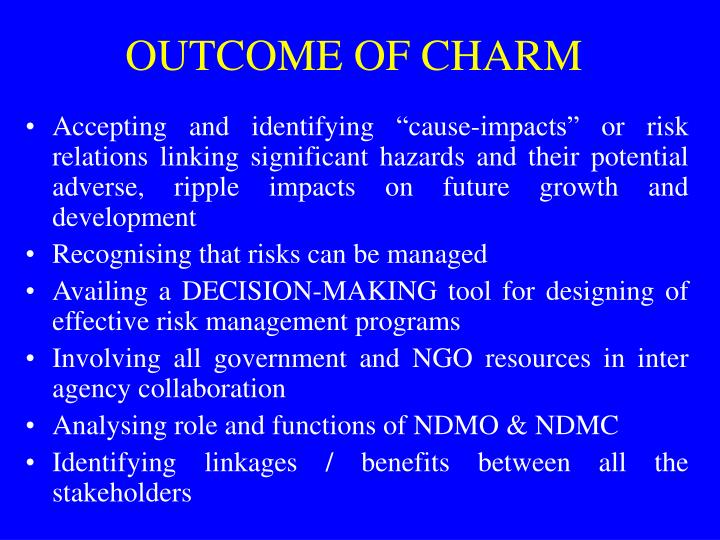 OUTCOME OF CHARM