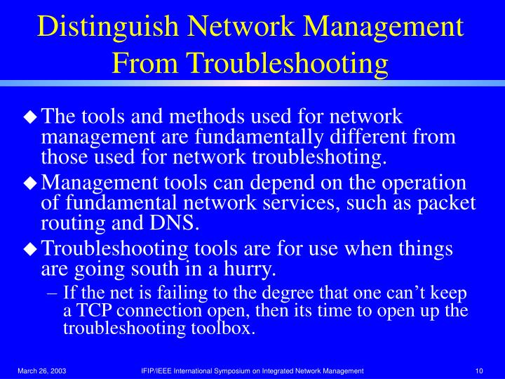 Distinguish Network Management From Troubleshooting