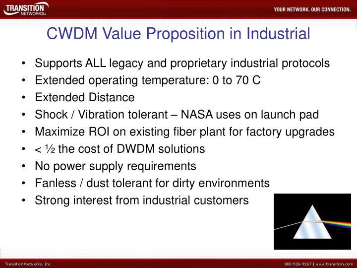 CWDM Value Proposition in Industrial