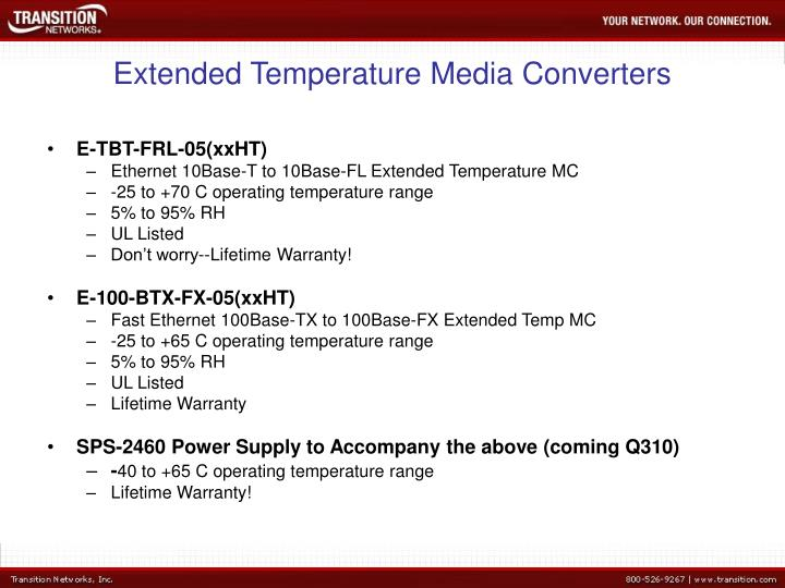 Extended Temperature Media Converters