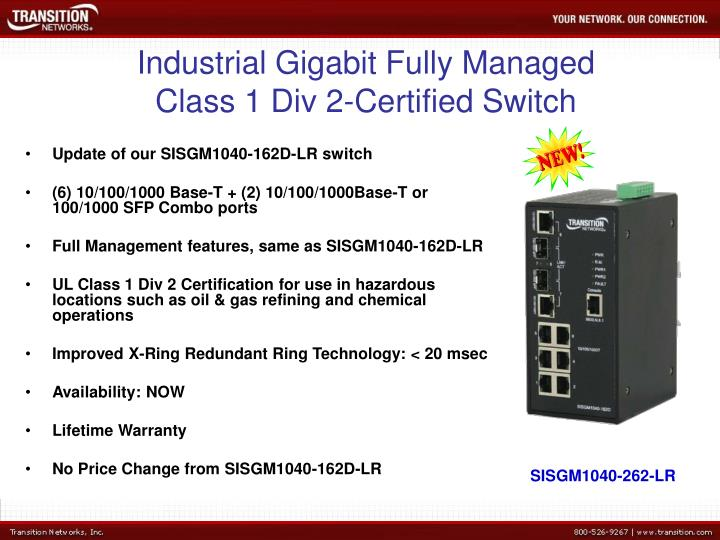 Industrial Gigabit Fully Managed Class 1 Div 2-Certified Switch