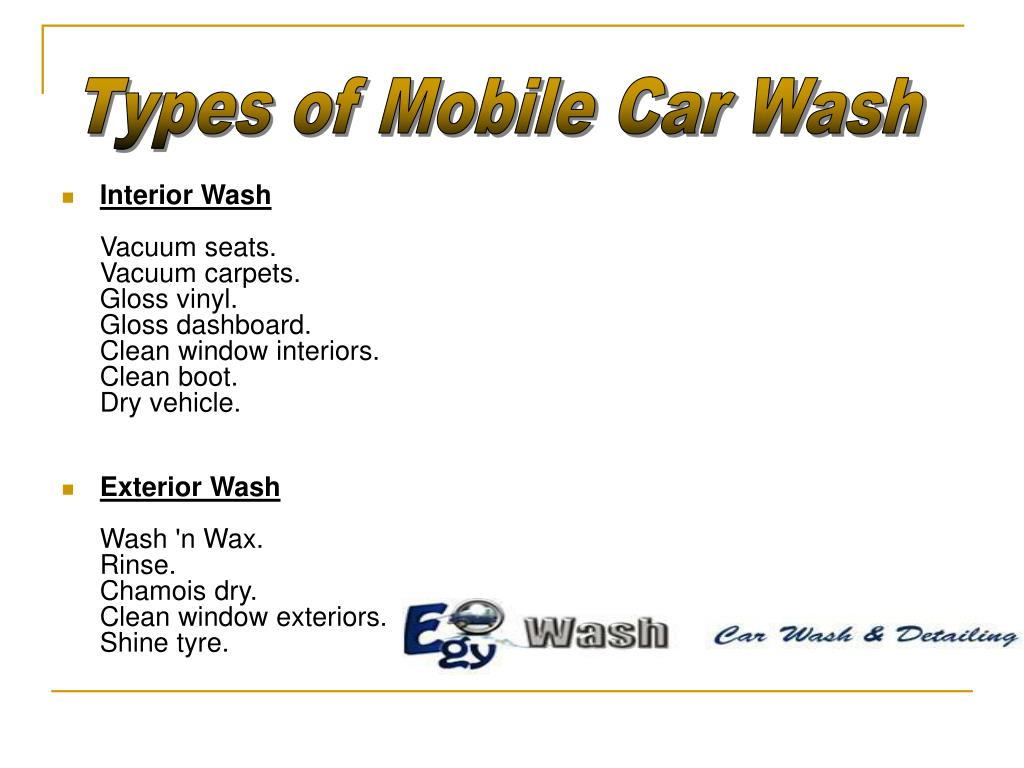 Types of Mobile Car Wash