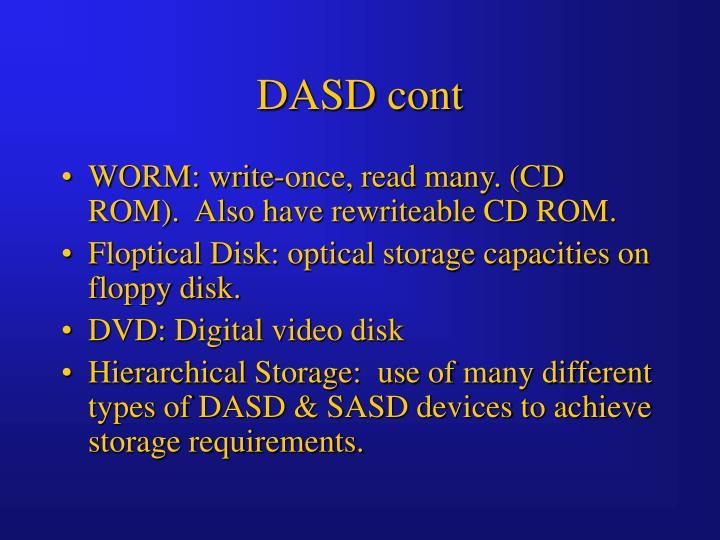 DASD cont