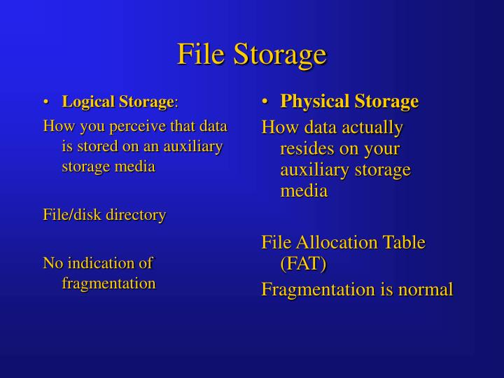 Logical Storage