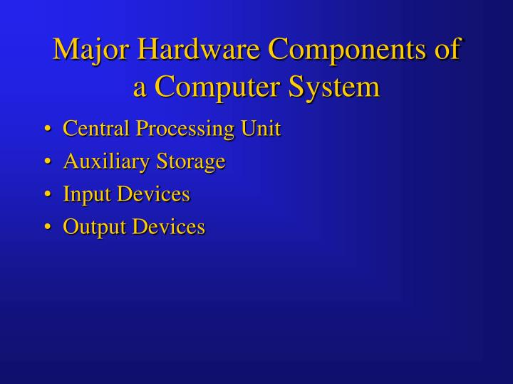 Major Hardware Components of a Computer System
