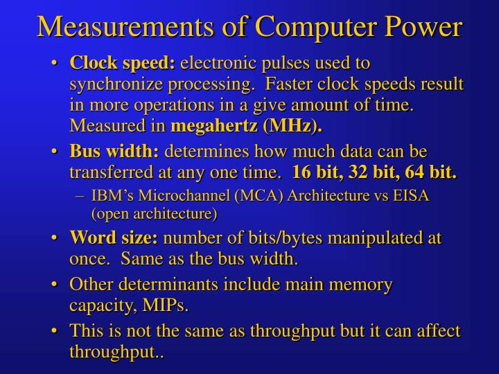 Measurements of Computer Power