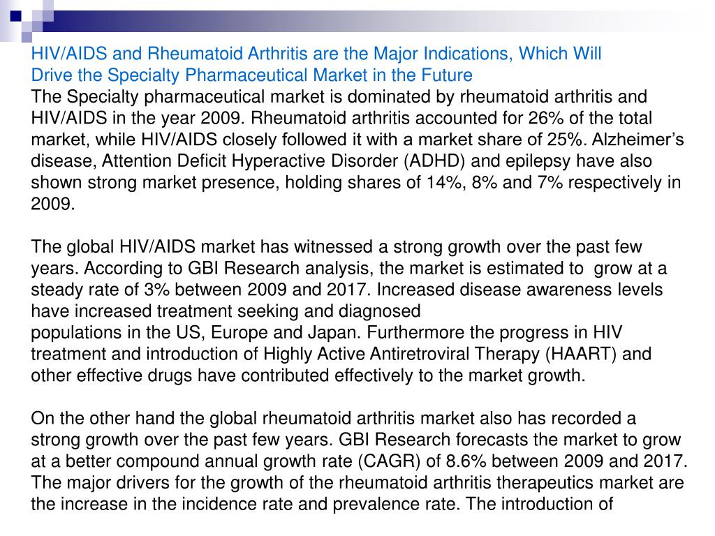 HIV/AIDS and Rheumatoid Arthritis are the Major Indications, Which Will