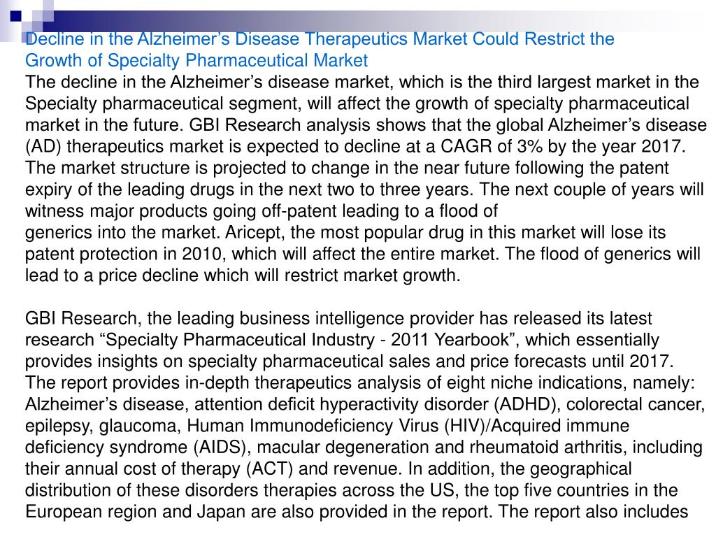 Decline in the Alzheimer's Disease Therapeutics Market Could Restrict the