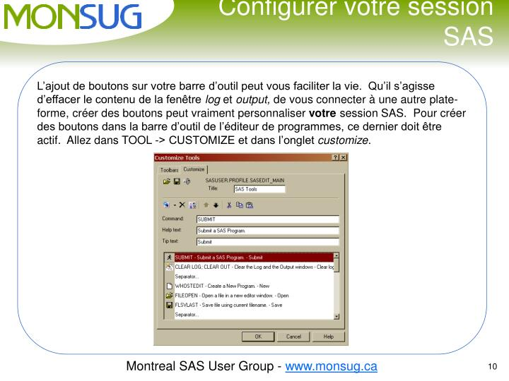 Configurer votre session SAS