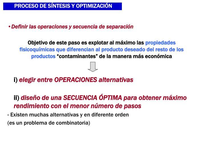PROCESO DE SNTESIS Y OPTIMIZACIN