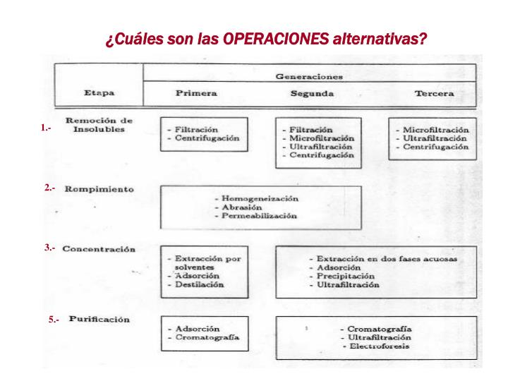 Cules son las OPERACIONES alternativas?