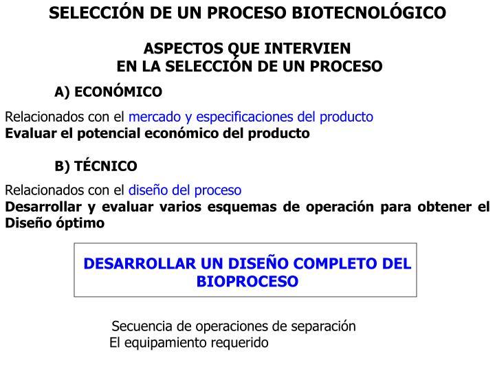 SELECCIN DE UN PROCESO BIOTECNOLGICO