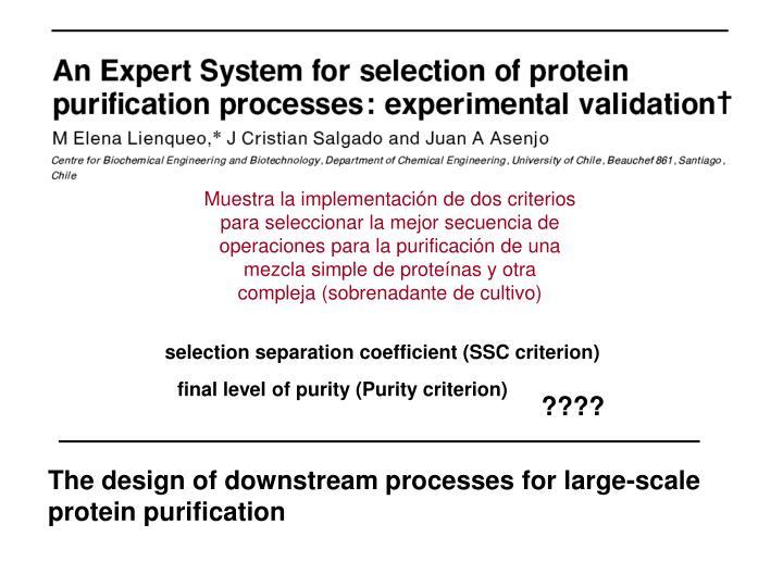 Muestra la implementacin de dos criterios para seleccionar la mejor secuencia de operaciones para la purificacin de una mezcla simple de protenas y otra compleja (sobrenadante de cultivo)