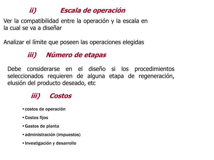 ii)     Escala de operacin
