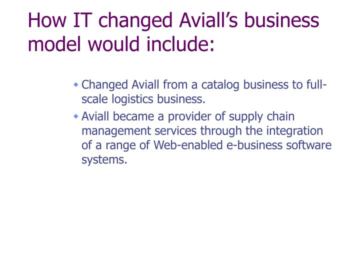 How IT changed Aviall's business model would include:
