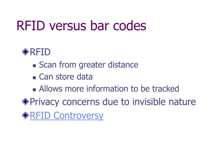 RFID versus bar codes