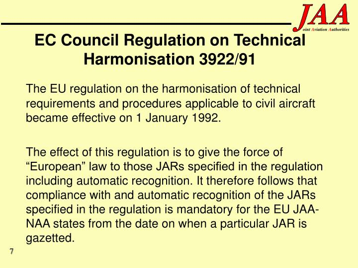 EC Council Regulation on Technical Harmonisation 3922/91