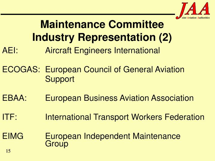 Maintenance Committee Industry Representation (2)