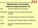 maintenance committee industry representation 2