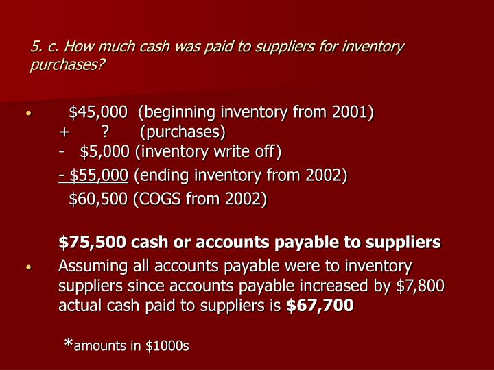 5. c. How much cash was paid to suppliers for inventory purchases?