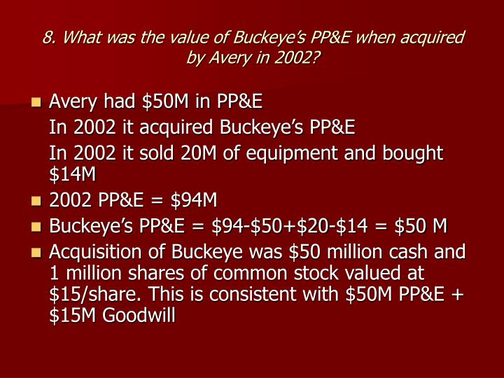 8. What was the value of Buckeye's PP&E when acquired by Avery in 2002?