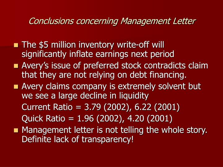 Conclusions concerning Management Letter