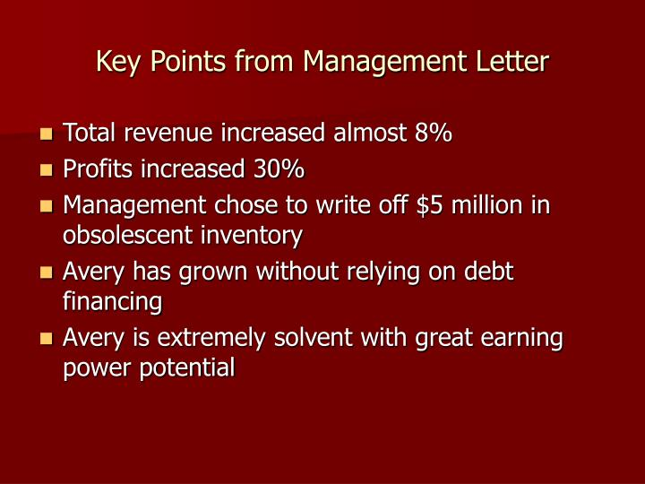 Key points from management letter
