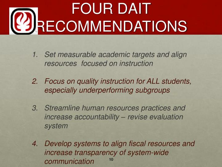 FOUR DAIT RECOMMENDATIONS