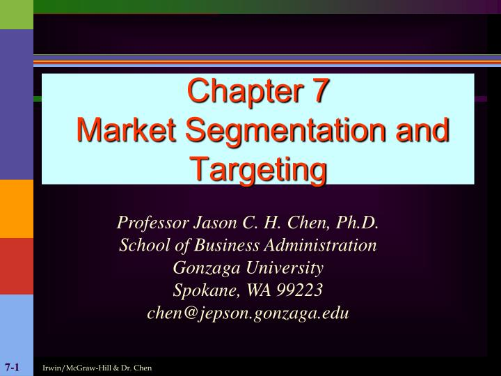 Chapter 7 market segmentation and targeting