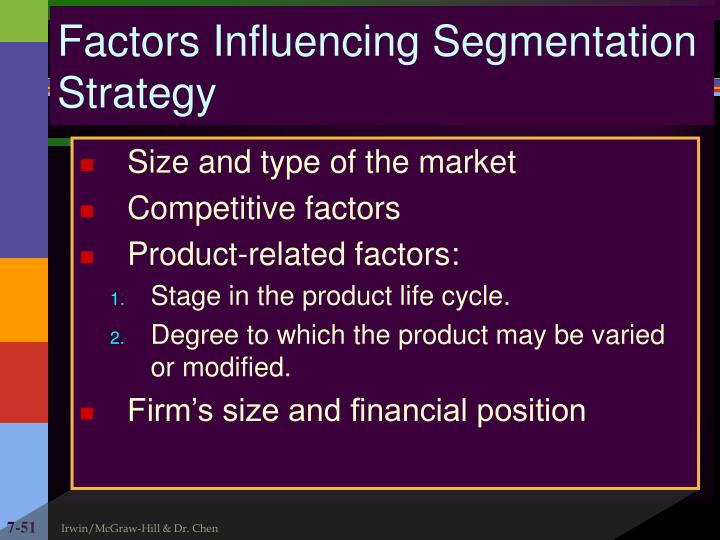 Factors Influencing Segmentation Strategy