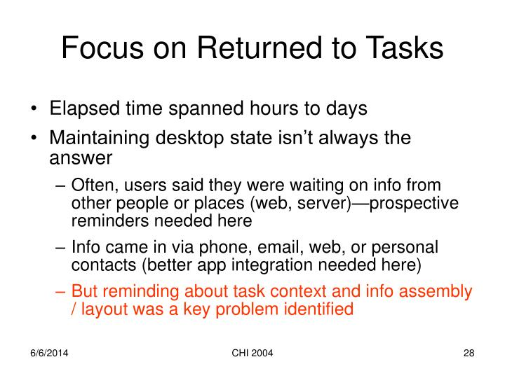 Focus on Returned to Tasks