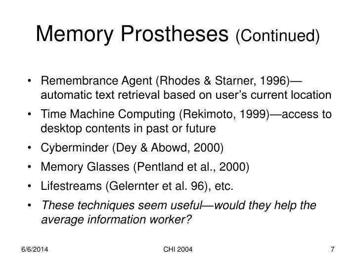 Memory Prostheses