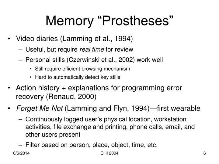 "Memory ""Prostheses"""