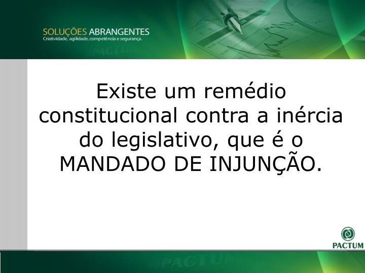 Existe um remdio constitucional contra a inrcia do legislativo, que  o MANDADO DE INJUNO.