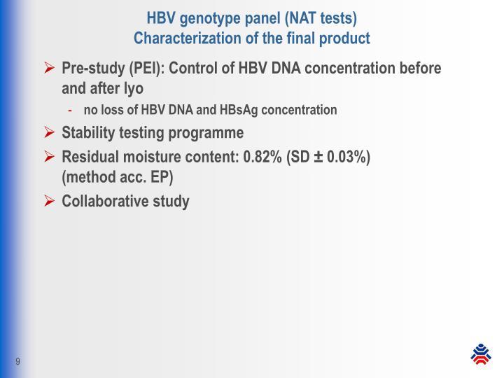HBV genotype panel (NAT tests)