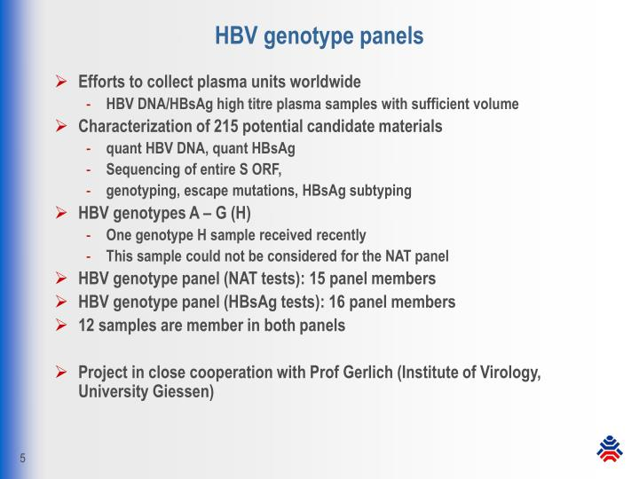 HBV genotype panels