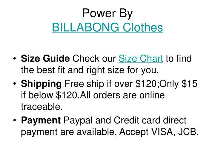 Power by billabong clothes