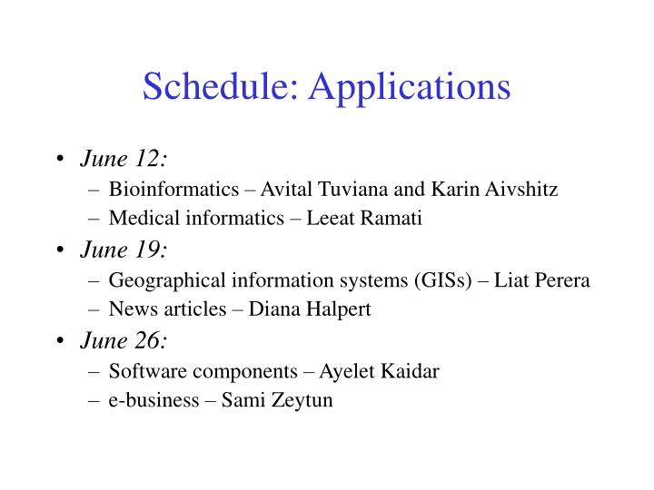 Schedule: Applications